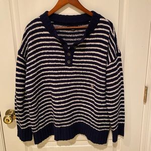 Navy Blue & White Quarter-Buttoned Sweater